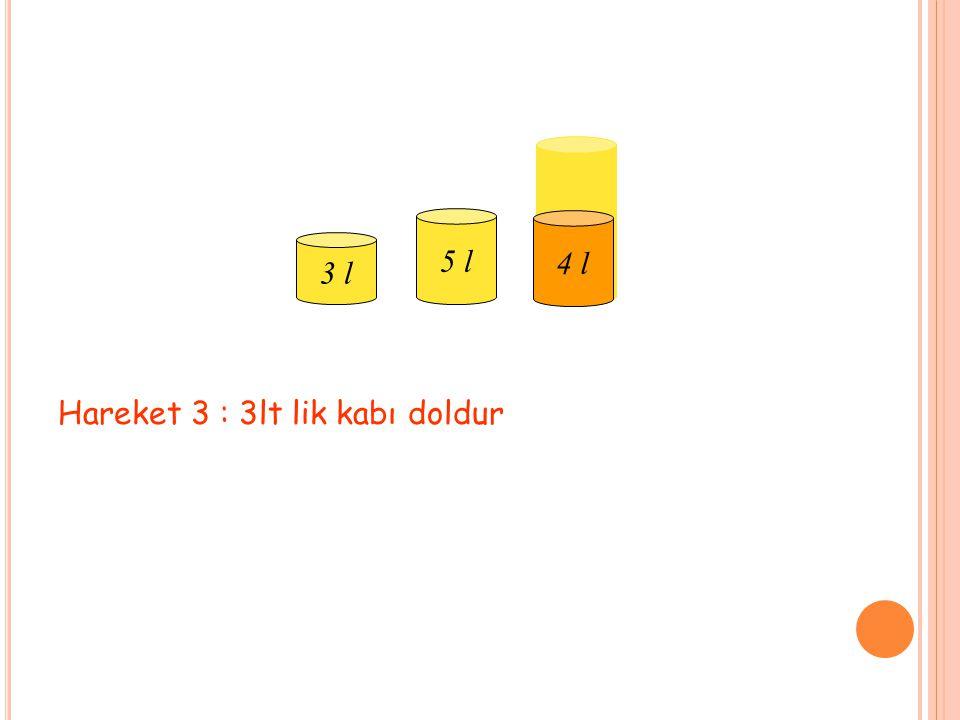 Hareket 3 : 3lt lik kabı doldur 3 l 5 l 9 l 4 l