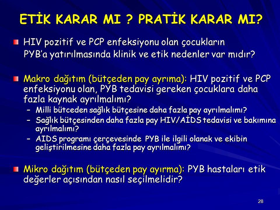 28 ETİK KARAR MI ? PRATİK KARAR MI? HIV pozitif ve PCP enfeksiyonu olan çocukların PYB'a yatırılmasında klinik ve etik nedenler var mıdır? PYB'a yatır