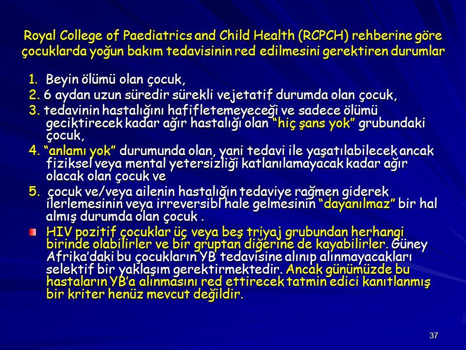 37 Royal College of Paediatrics and Child Health (RCPCH) rehberine göre çocuklarda yoğun bakım tedavisinin red edilmesini gerektiren durumlar 1. Beyin