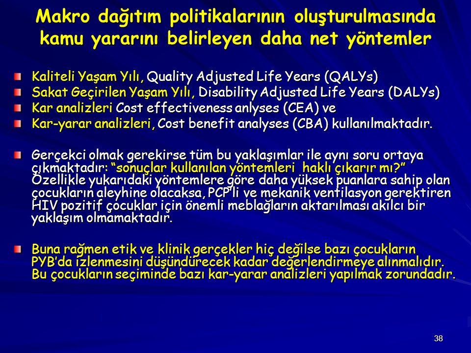 38 Makro dağıtım politikalarının oluşturulmasında kamu yararını belirleyen daha net yöntemler Kaliteli Yaşam Yılı, Quality Adjusted Life Years (QALYs)