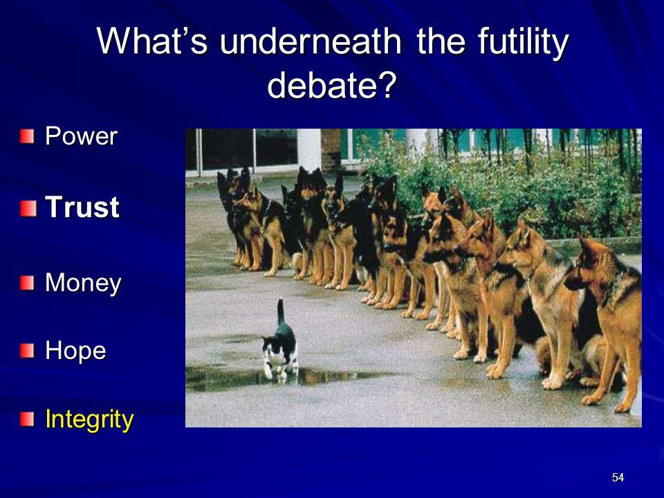 54 What's underneath the futility debate? PowerTrustMoneyHopeIntegrity