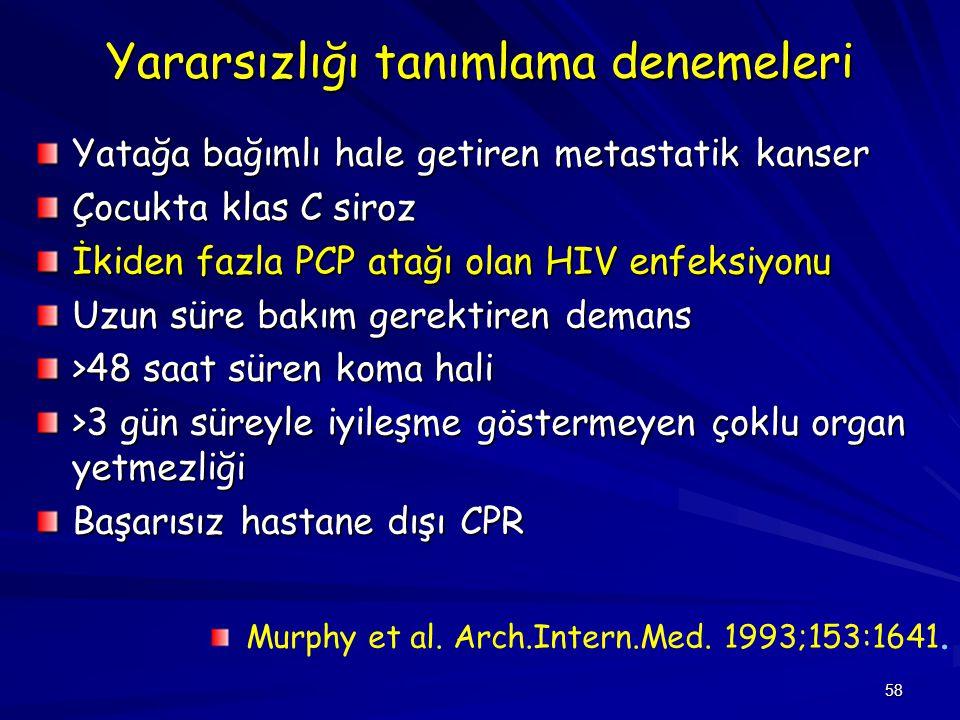 58 Yararsızlığı tanımlama denemeleri Yatağa bağımlı hale getiren metastatik kanser Çocukta klas C siroz İkiden fazla PCP atağı olan HIV enfeksiyonu Uz