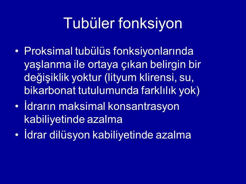 Tubüler fonksiyon Proksimal tubülüs fonksiyonlarında yaşlanma ile ortaya çıkan belirgin bir değişiklik yoktur (lityum klirensi, su, bikarbonat tutulum