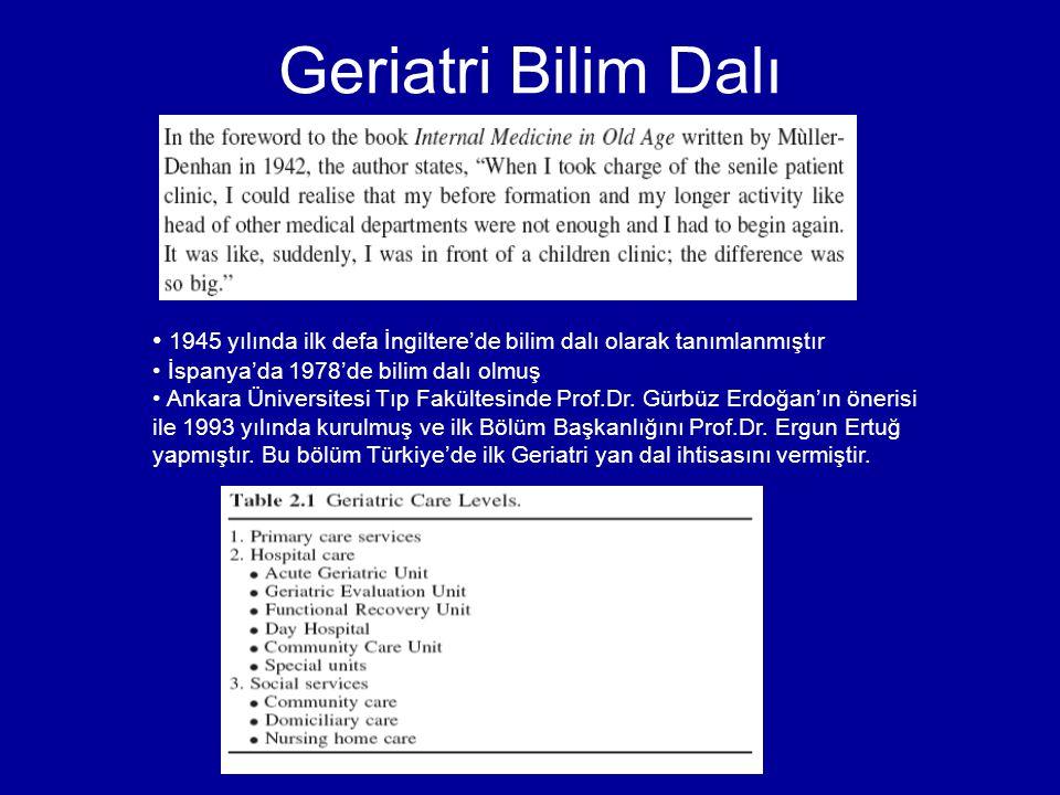 Geriatri Bilim Dalı 1945 yılında ilk defa İngiltere'de bilim dalı olarak tanımlanmıştır İspanya'da 1978'de bilim dalı olmuş Ankara Üniversitesi Tıp Fa