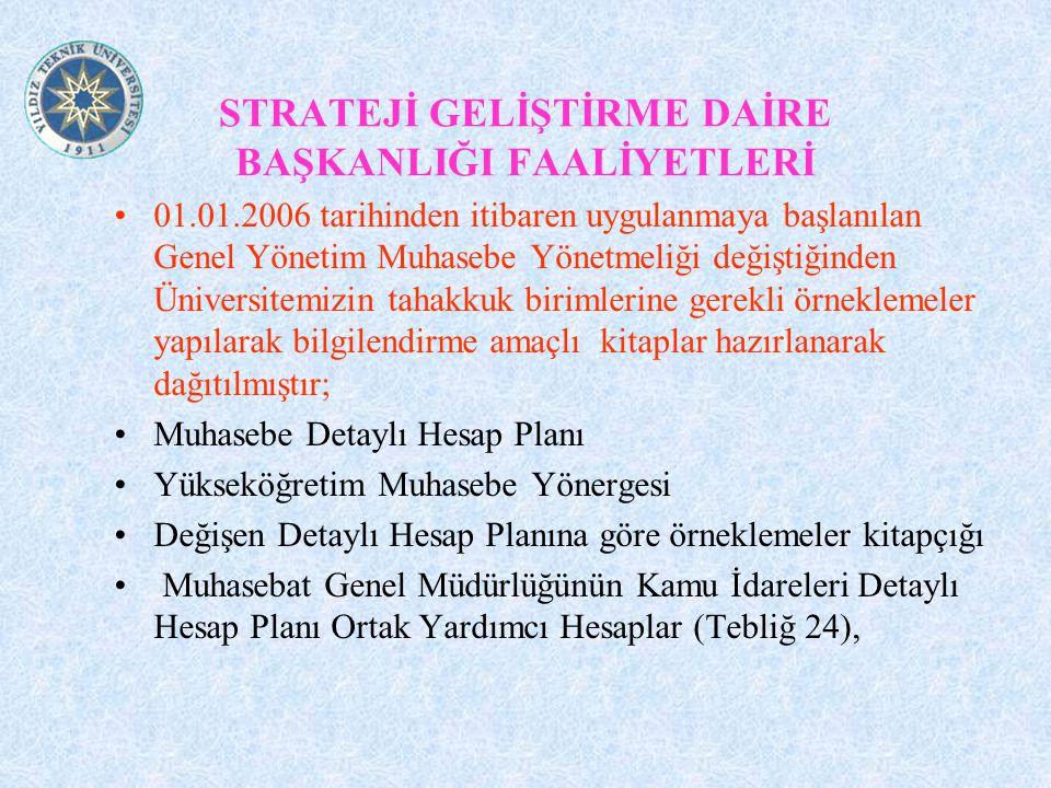 STRATEJİ GELİŞTİRME DAİRE BAŞKANLIĞI FAALİYETLERİ 01.01.2006 tarihinden itibaren uygulanmaya başlanılan Genel Yönetim Muhasebe Yönetmeliği değiştiğind