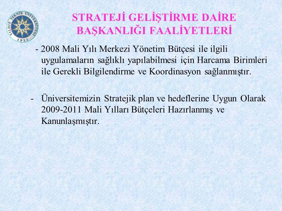 STRATEJİ GELİŞTİRME DAİRE BAŞKANLIĞI FAALİYETLERİ - 2008 Mali Yılı Merkezi Yönetim Bütçesi ile ilgili uygulamaların sağlıklı yapılabilmesi için Harcama Birimleri ile Gerekli Bilgilendirme ve Koordinasyon sağlanmıştır.