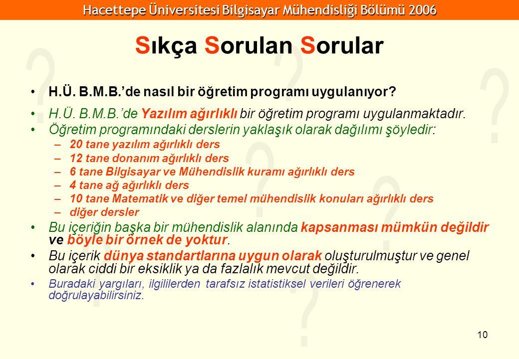 Hacettepe Üniversitesi Bilgisayar Mühendisliği Bölümü 2006 10 Sıkça Sorulan Sorular H.Ü. B.M.B.'de nasıl bir öğretim programı uygulanıyor? H.Ü. B.M.B.