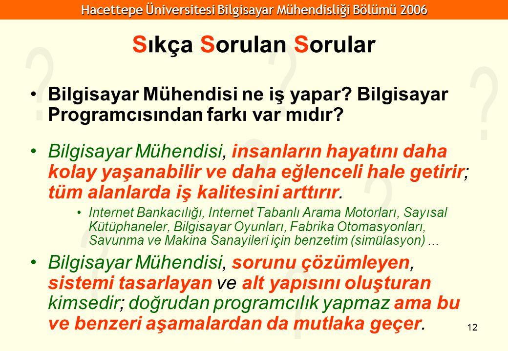 Hacettepe Üniversitesi Bilgisayar Mühendisliği Bölümü 2006 12 Sıkça Sorulan Sorular Bilgisayar Mühendisi ne iş yapar.