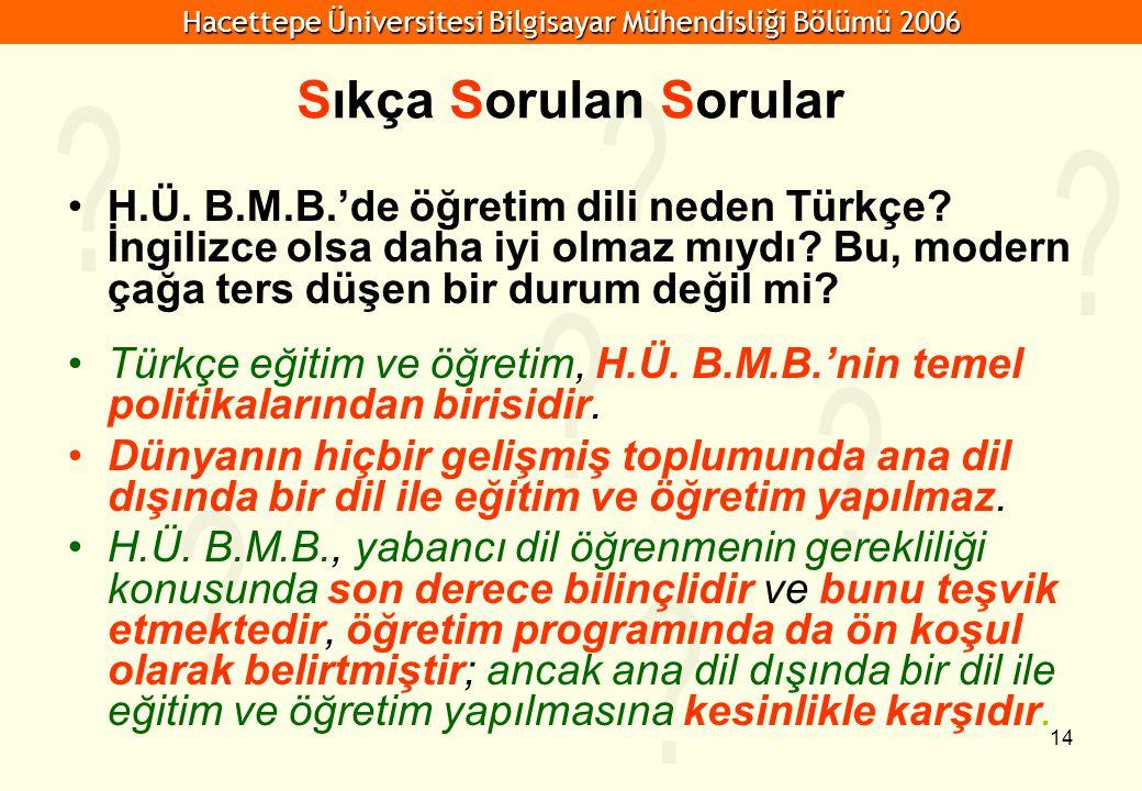 Hacettepe Üniversitesi Bilgisayar Mühendisliği Bölümü 2006 14 Sıkça Sorulan Sorular H.Ü. B.M.B.'de öğretim dili neden Türkçe? İngilizce olsa daha iyi