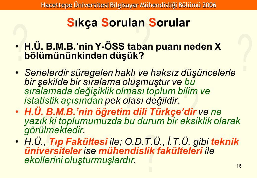 Hacettepe Üniversitesi Bilgisayar Mühendisliği Bölümü 2006 16 Sıkça Sorulan Sorular H.Ü.
