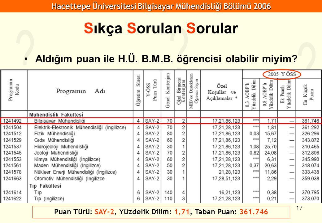 Hacettepe Üniversitesi Bilgisayar Mühendisliği Bölümü 2006 17 Sıkça Sorulan Sorular Aldığım puan ile H.Ü. B.M.B. öğrencisi olabilir miyim? Puan Türü: