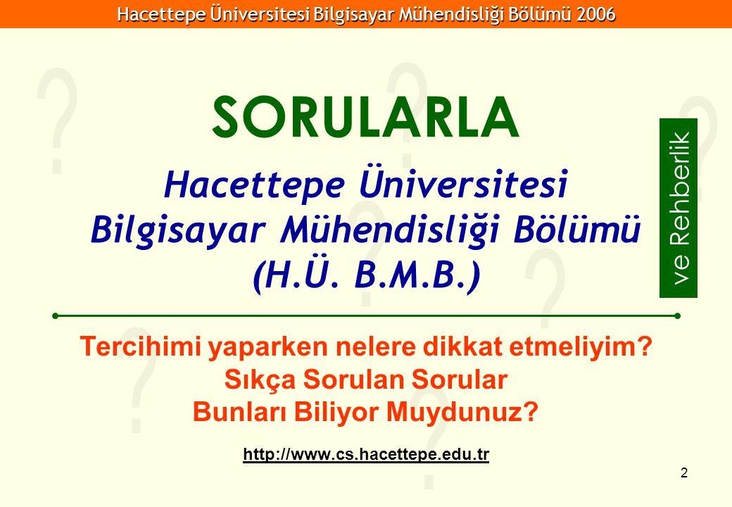 Hacettepe Üniversitesi Bilgisayar Mühendisliği Bölümü 2006 2 Hacettepe Üniversitesi Bilgisayar Mühendisliği Bölümü (H.Ü. B.M.B.) Tercihimi yaparken ne