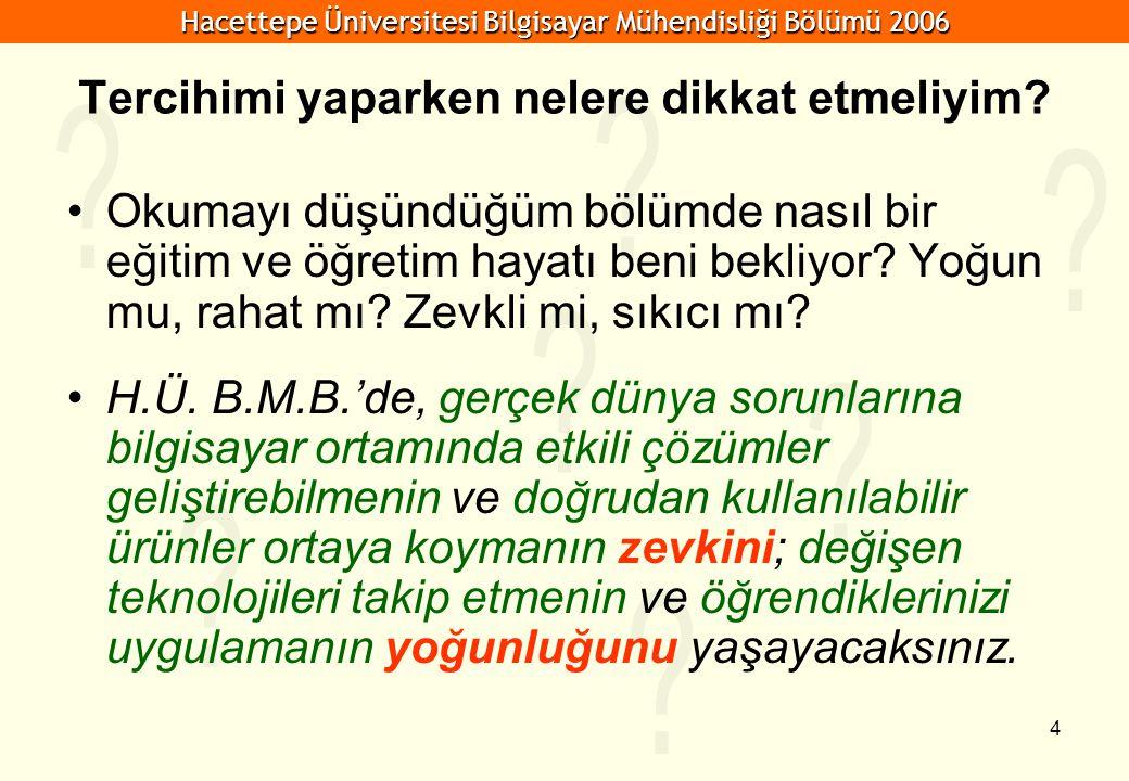 Hacettepe Üniversitesi Bilgisayar Mühendisliği Bölümü 2006 5 Tercihimi yaparken nelere dikkat etmeliyim.