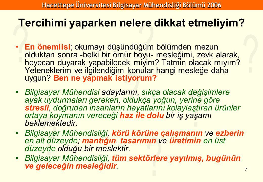 Hacettepe Üniversitesi Bilgisayar Mühendisliği Bölümü 2006 7 Tercihimi yaparken nelere dikkat etmeliyim.
