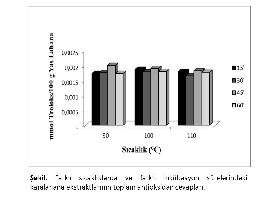 Şekil. Farklı sıcaklıklarda ve farklı inkübasyon sürelerindeki karalahana ekstraktlarının toplam antioksidan cevapları.
