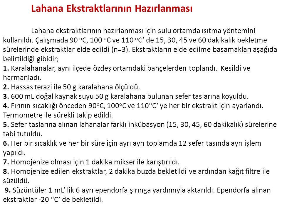 Lahana Ekstraktlarının Hazırlanması Lahana ekstraktlarının hazırlanması için sulu ortamda ısıtma yöntemini kullanıldı. Çalışmada 90 o C, 100 o C ve 11