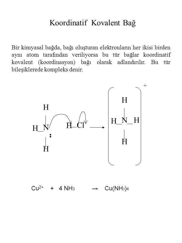 H N H H H N H H H H + Cl Koordinatif Kovalent Bağ Bir kimyasal bağda, bağı oluşturan elektronların her ikisi birden aynı atom tarafından veriliyorsa b