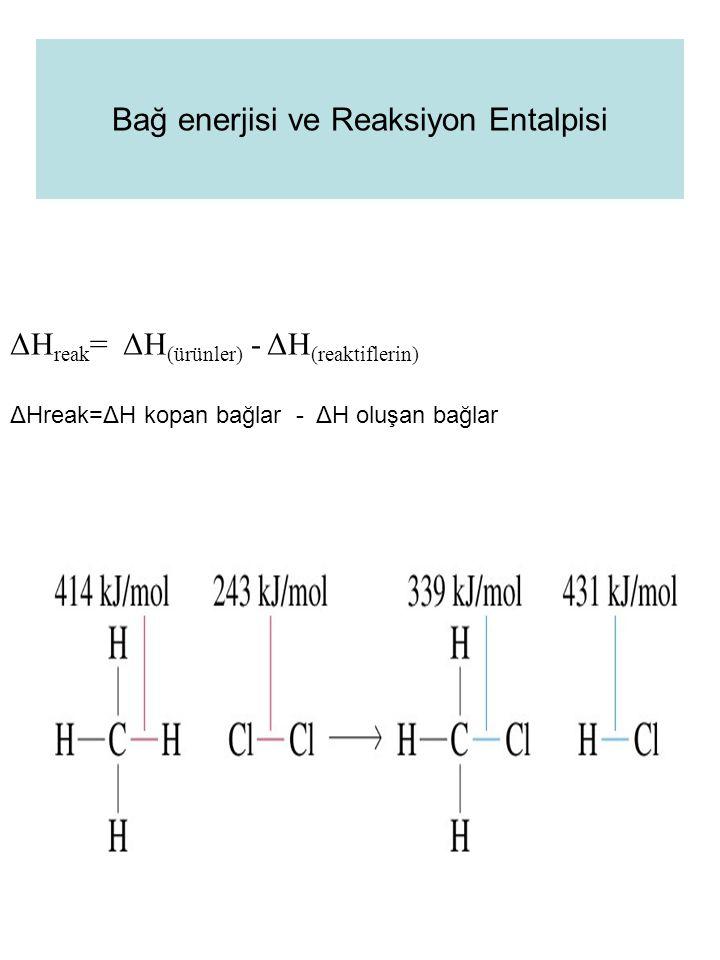 Bağ enerjisi ve Reaksiyon Entalpisi ΔH reak = ΔH (ürünler) - ΔH (reaktiflerin) ΔHreak=ΔH kopan bağlar - ΔH oluşan bağlar