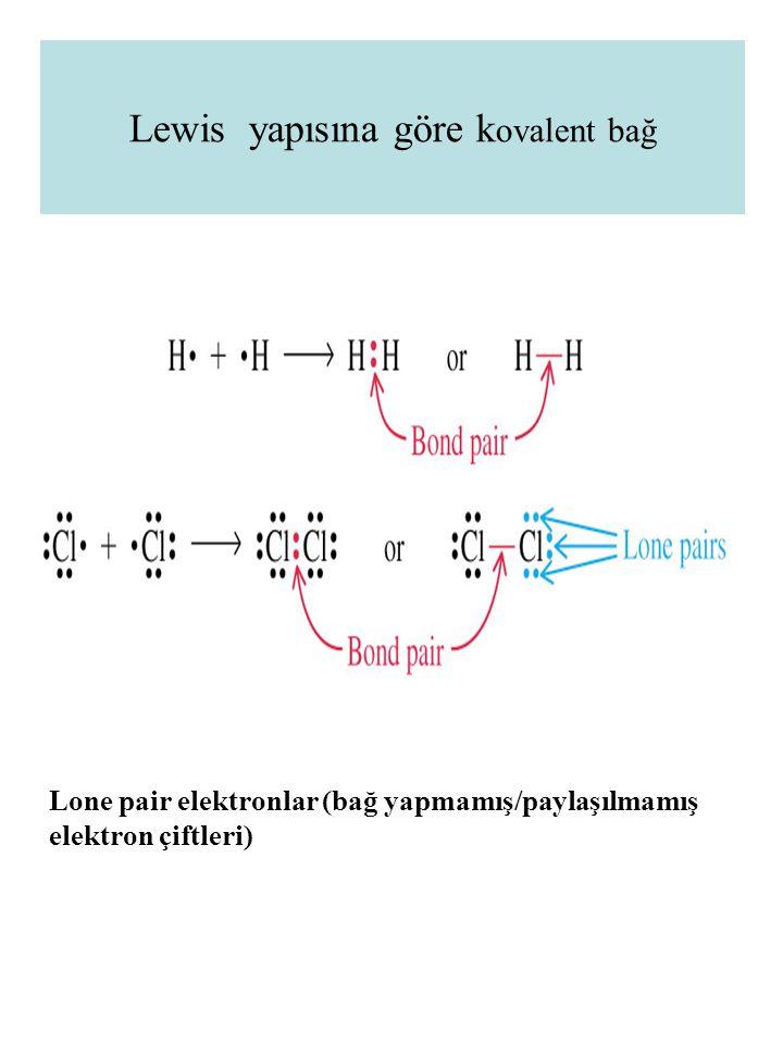Lewis yapısına göre k ovalent bağ Lone pair elektronlar (bağ yapmamış/paylaşılmamış elektron çiftleri)
