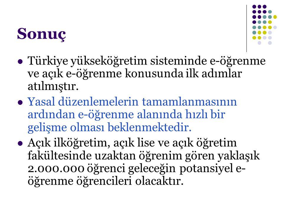 Sonuç Türkiye yükseköğretim sisteminde e-öğrenme ve açık e-öğrenme konusunda ilk adımlar atılmıştır. Yasal düzenlemelerin tamamlanmasının ardından e-ö