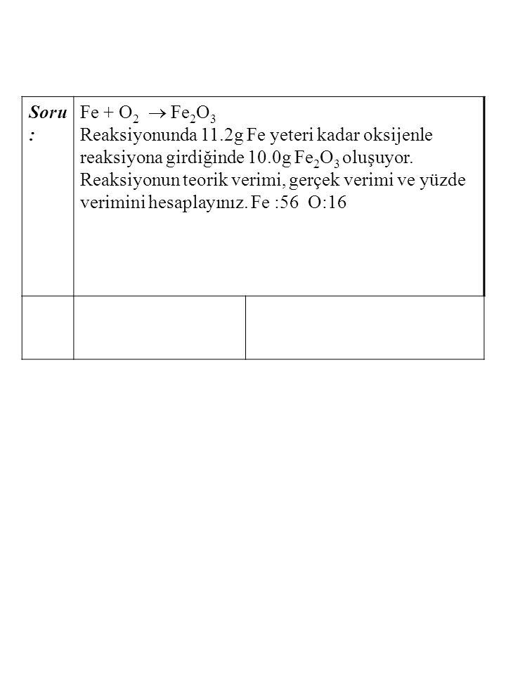 Soru : Fe + O 2  Fe 2 O 3 Reaksiyonunda 11.2g Fe yeteri kadar oksijenle reaksiyona girdiğinde 10.0g Fe 2 O 3 oluşuyor. Reaksiyonun teorik verimi, ger