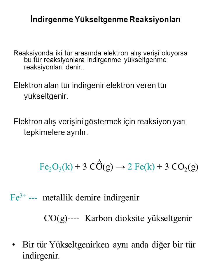 İndirgenme Yükseltgenme Reaksiyonları Reaksiyonda iki tür arasında elektron alış verişi oluyorsa bu tür reaksiyonlara indirgenme yükseltgenme reaksiyo