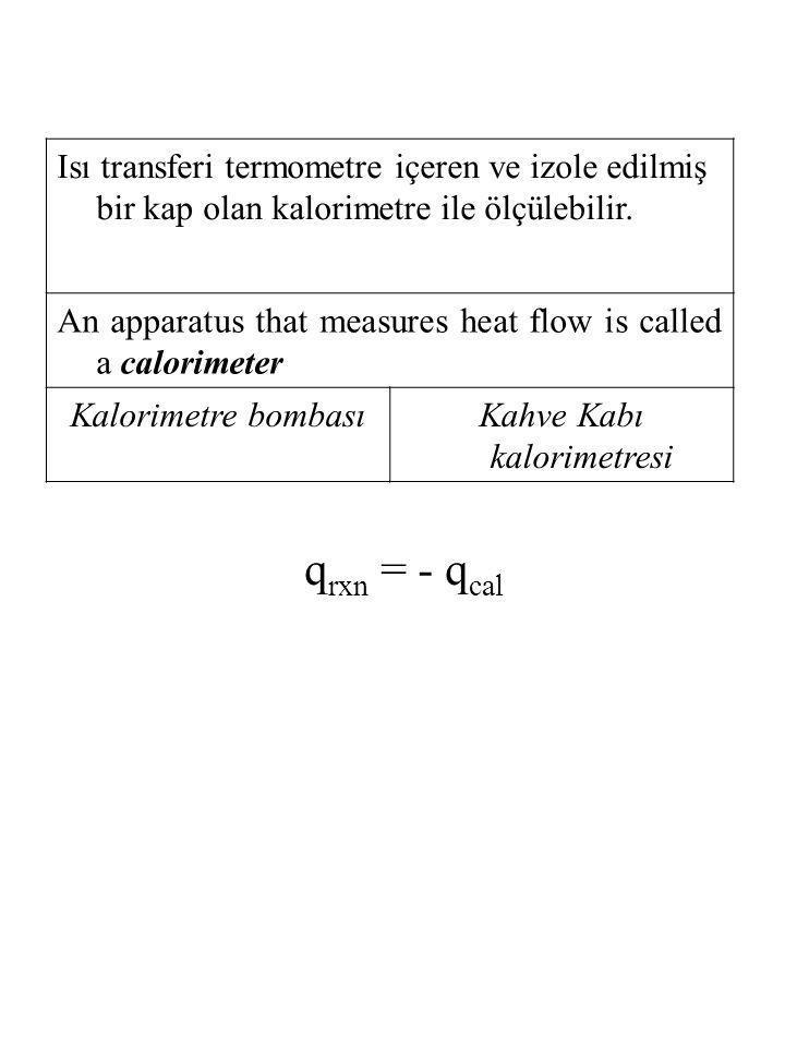 Isı transferi termometre içeren ve izole edilmiş bir kap olan kalorimetre ile ölçülebilir. An apparatus that measures heat flow is called a calorimete