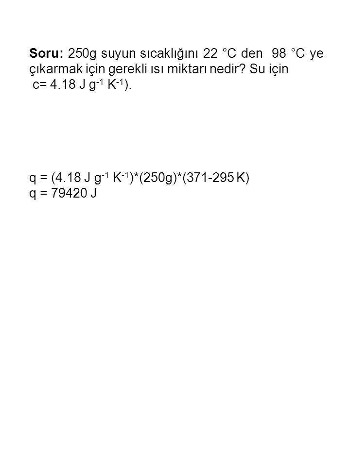Reaksiyon Entalpi sinin hesaplanması Hess kanunu, Oluşum Entalpileri Bağ Enerjileri