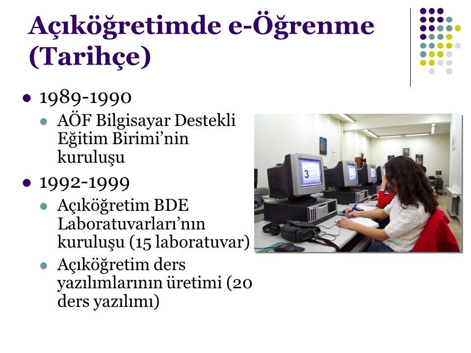 Açıköğretimde e-Öğrenme (Tarihçe) 1989-1990 AÖF Bilgisayar Destekli Eğitim Birimi'nin kuruluşu 1992-1999 Açıköğretim BDE Laboratuvarları'nın kuruluşu