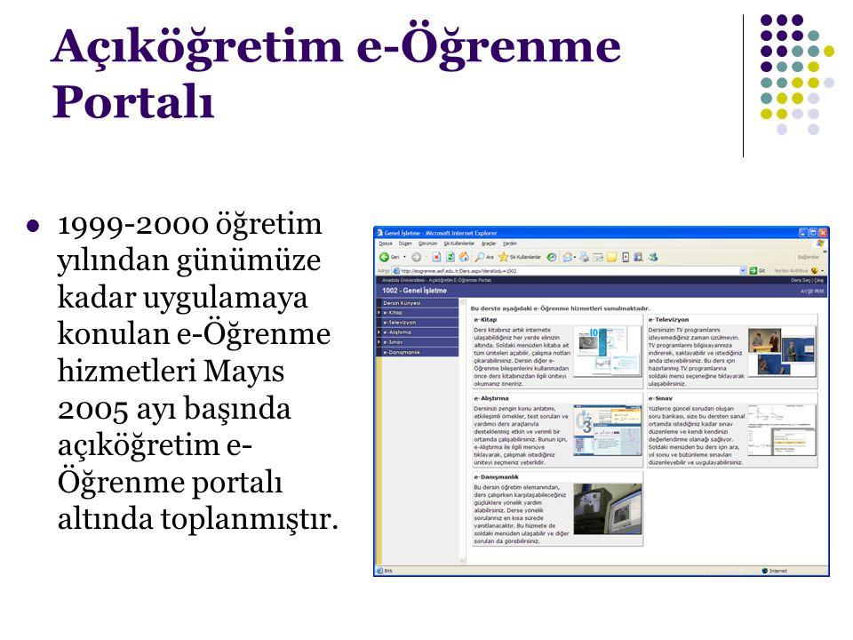 Açıköğretim e-Öğrenme Portalı 1999-2000 öğretim yılından günümüze kadar uygulamaya konulan e-Öğrenme hizmetleri Mayıs 2005 ayı başında açıköğretim e-