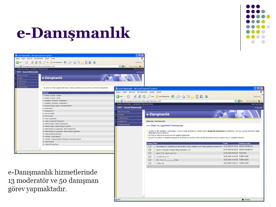 e-Danışmanlık e-Danışmanlık hizmetlerinde 13 moderatör ve 50 danışman görev yapmaktadır.