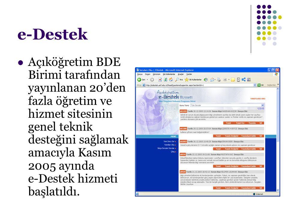 e-Destek Açıköğretim BDE Birimi tarafından yayınlanan 20'den fazla öğretim ve hizmet sitesinin genel teknik desteğini sağlamak amacıyla Kasım 2005 ayı