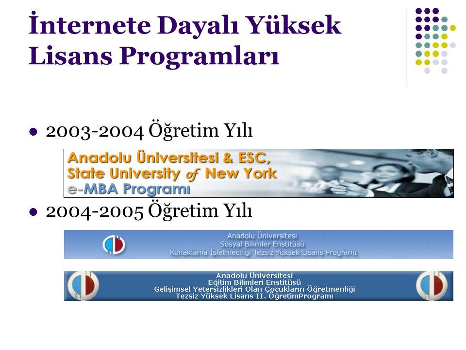 İnternete Dayalı Yüksek Lisans Programları 2003-2004 Öğretim Yılı 2004-2005 Öğretim Yılı