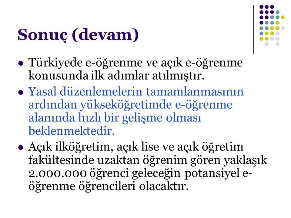 Sonuç (devam) Türkiyede e-öğrenme ve açık e-öğrenme konusunda ilk adımlar atılmıştır. Yasal düzenlemelerin tamamlanmasının ardından yükseköğretimde e-