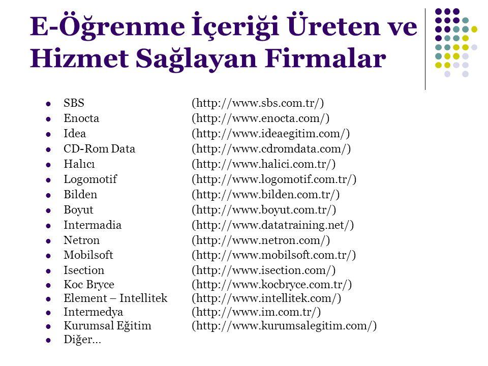 E-Öğrenme İçeriği Üreten ve Hizmet Sağlayan Firmalar SBS (http://www.sbs.com.tr/) Enocta (http://www.enocta.com/) Idea (http://www.ideaegitim.com/) CD