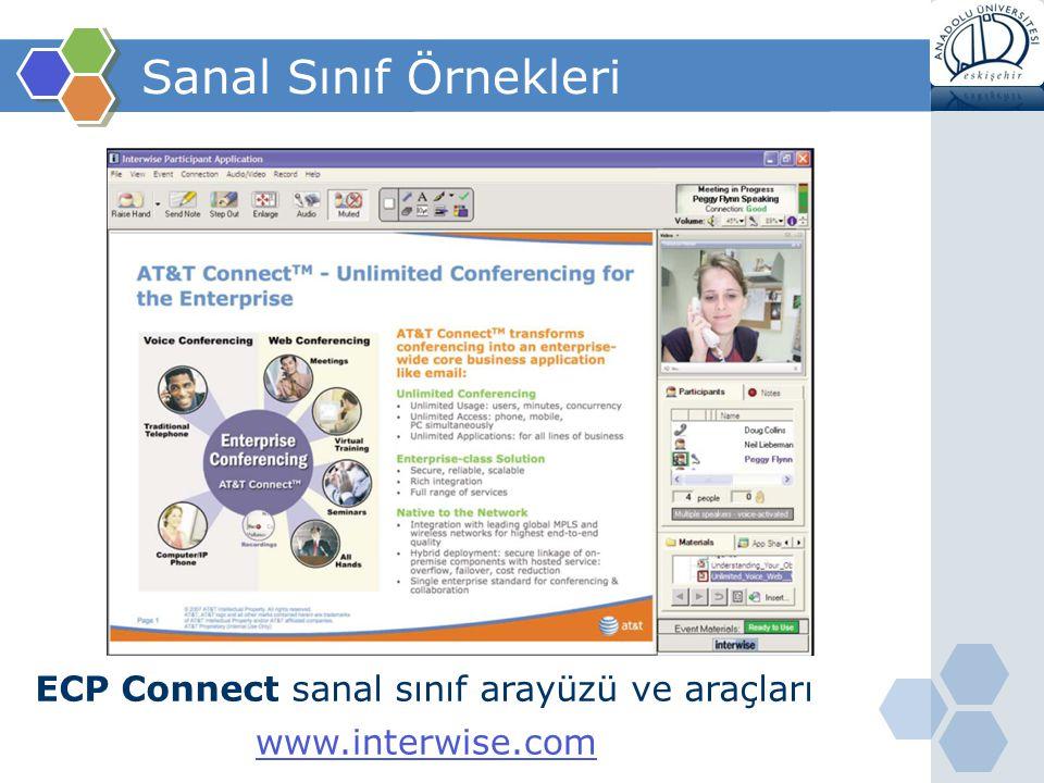 Sanal Sınıf Örnekleri ECP Connect sanal sınıf arayüzü ve araçları www.interwise.com