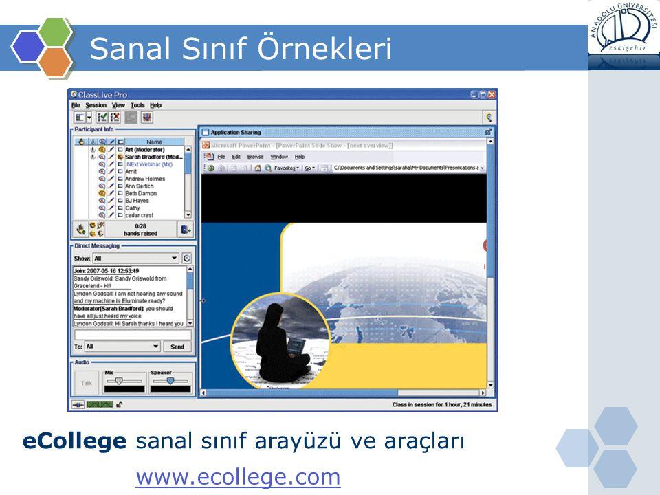 Sanal Sınıf Örnekleri eCollege sanal sınıf arayüzü ve araçları www.ecollege.com