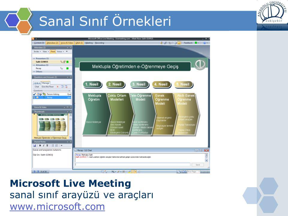 Sanal Sınıf Örnekleri Microsoft Live Meeting sanal sınıf arayüzü ve araçları www.microsoft.com www.microsoft.com