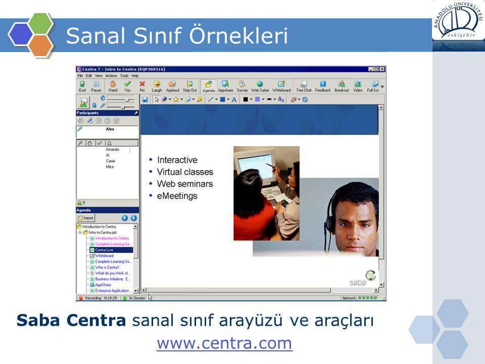 Sanal Sınıf Örnekleri Saba Centra sanal sınıf arayüzü ve araçları www.centra.com