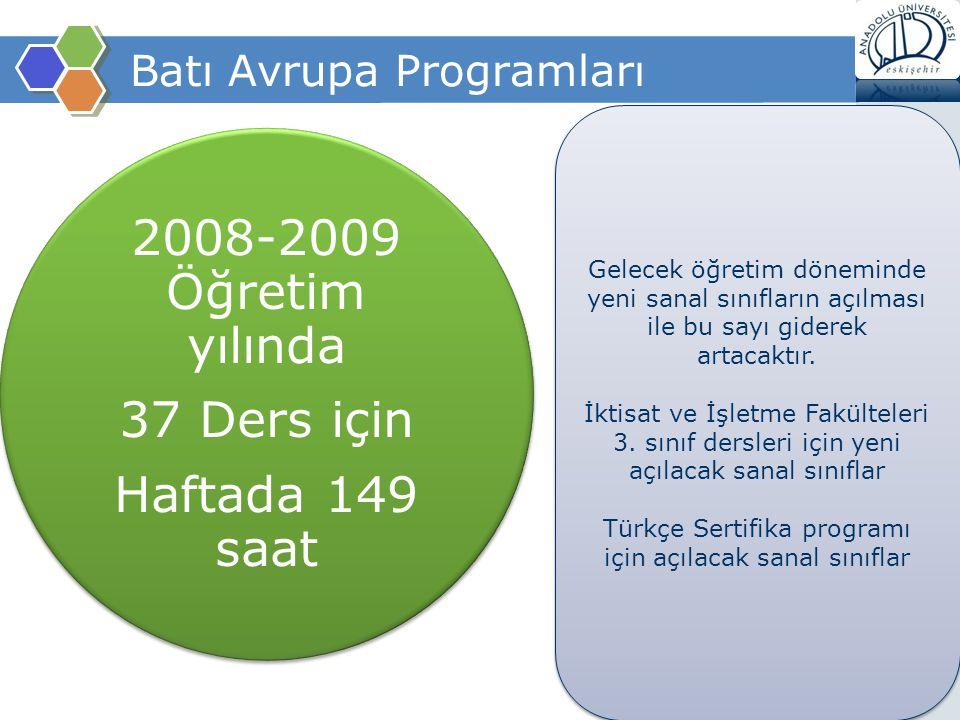 Batı Avrupa Programları 2008-2009 Öğretim yılında 37 Ders için Haftada 149 saat Gelecek öğretim döneminde yeni sanal sınıfların açılması ile bu sayı g