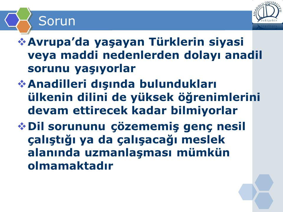 Sorun  Avrupa'da yaşayan Türklerin siyasi veya maddi nedenlerden dolayı anadil sorunu yaşıyorlar  Anadilleri dışında bulundukları ülkenin dilini de