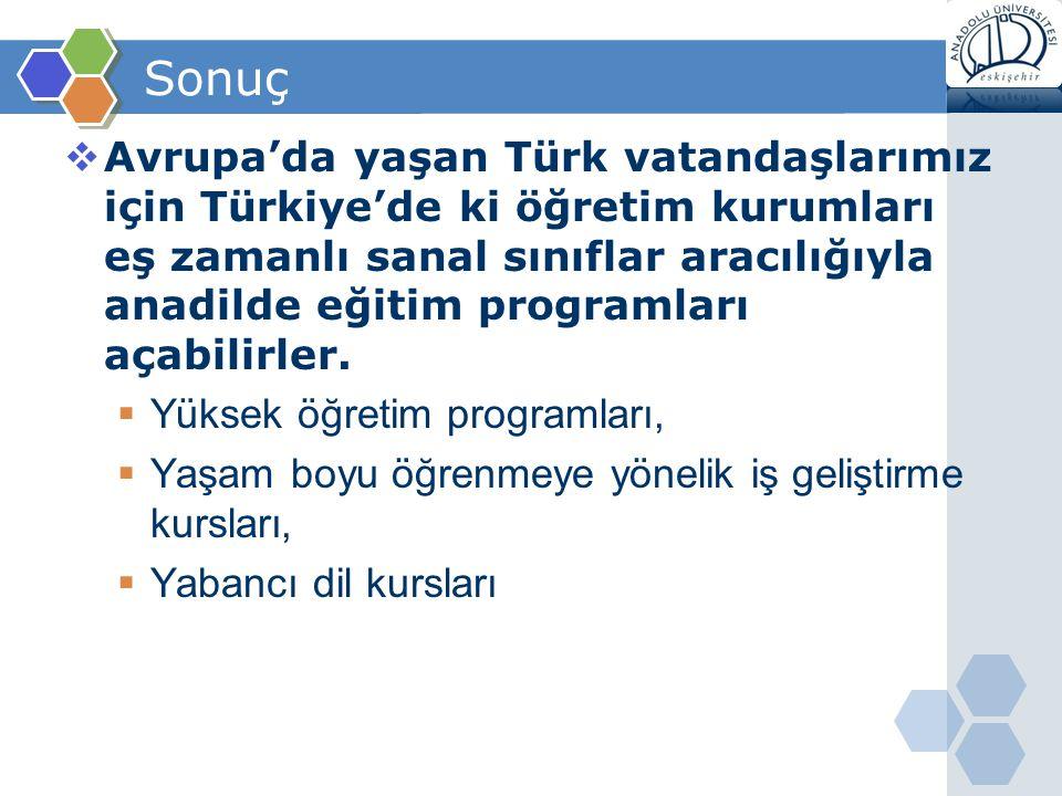 Sonuç  Avrupa'da yaşan Türk vatandaşlarımız için Türkiye'de ki öğretim kurumları eş zamanlı sanal sınıflar aracılığıyla anadilde eğitim programları a