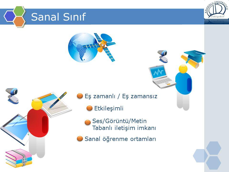 Sanal Sınıf Eş zamanlı / Eş zamansız Ses/Görüntü/Metin Tabanlı iletişim imkanı Etkileşimli Sanal öğrenme ortamları