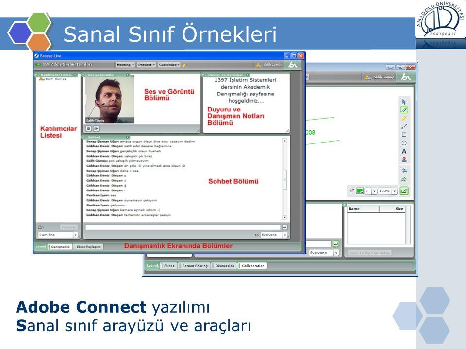 Sanal Sınıf Örnekleri Adobe Connect yazılımı Sanal sınıf arayüzü ve araçları