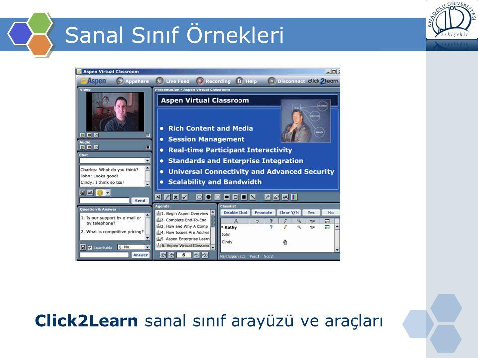 Sanal Sınıf Örnekleri Click2Learn sanal sınıf arayüzü ve araçları