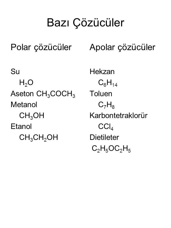 Bazı Çözücüler Polar çözücüler Su H 2 O Aseton CH 3 COCH 3 Metanol CH 3 OH Etanol CH 3 CH 2 OH Apolar çözücüler Hekzan C 6 H 14 Toluen C 7 H 8 Karbontetraklorür CCl 4 Dietileter C 2 H 5 OC 2 H 5