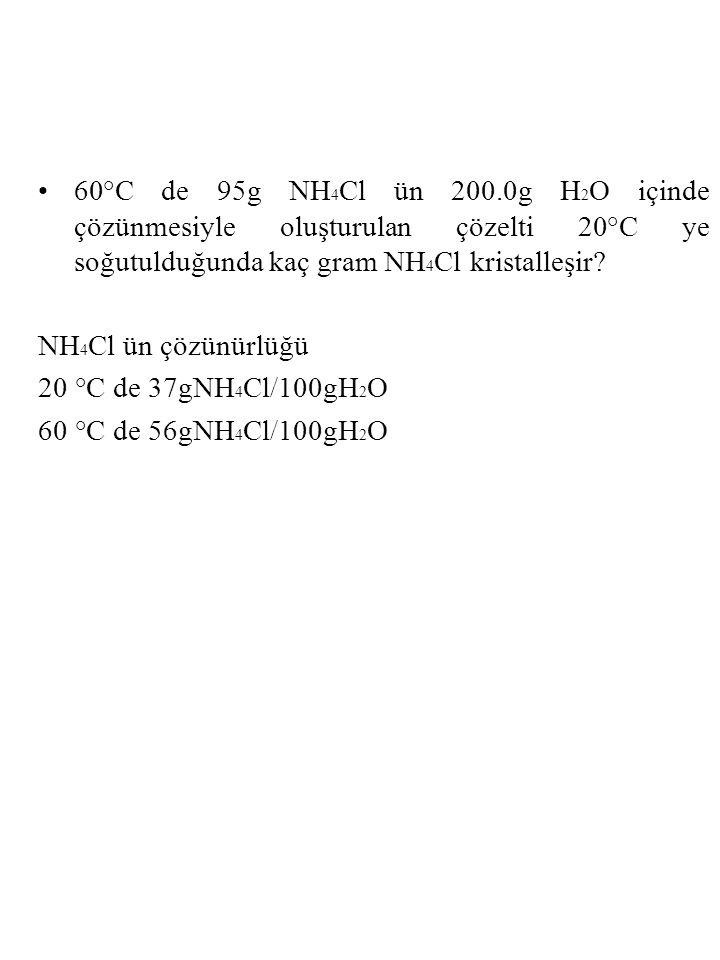 60°C de 95g NH 4 Cl ün 200.0g H 2 O içinde çözünmesiyle oluşturulan çözelti 20°C ye soğutulduğunda kaç gram NH 4 Cl kristalleşir.