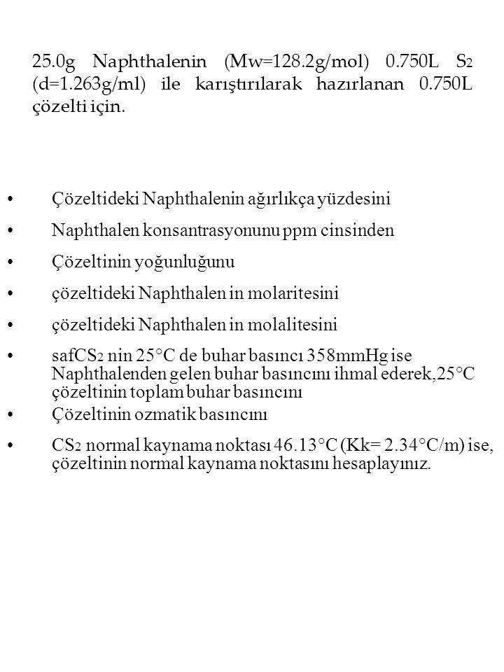 25.0g Naphthalenin (Mw=128.2g/mol) 0.750L S 2 (d=1.263g/ml) ile karıştırılarak hazırlanan 0.750L çözelti için.