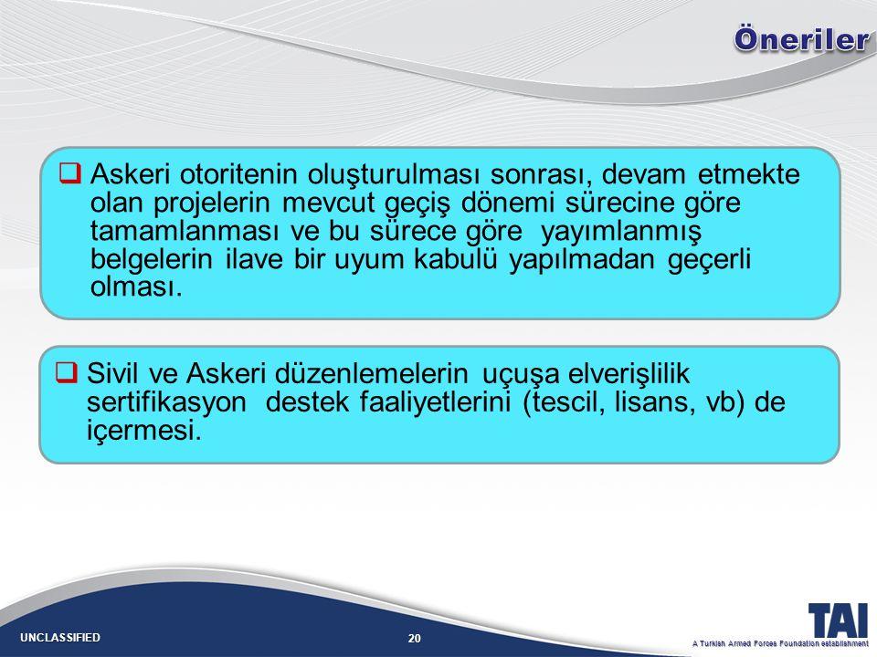 20 UNCLASSIFIED A Turkish Armed Forces Foundation establishment   Askeri otoritenin oluşturulması sonrası, devam etmekte olan projelerin mevcut geçiş dönemi sürecine göre tamamlanması ve bu sürece göre yayımlanmış belgelerin ilave bir uyum kabulü yapılmadan geçerli olması.