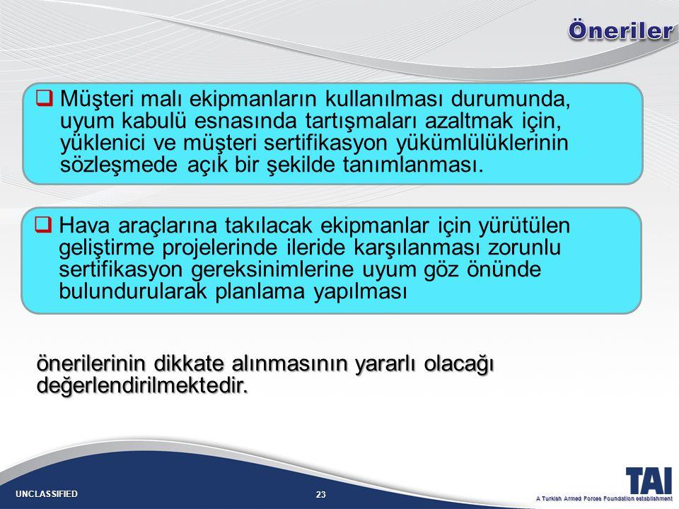 23 UNCLASSIFIED A Turkish Armed Forces Foundation establishment   Müşteri malı ekipmanların kullanılması durumunda, uyum kabulü esnasında tartışmaları azaltmak için, yüklenici ve müşteri sertifikasyon yükümlülüklerinin sözleşmede açık bir şekilde tanımlanması.